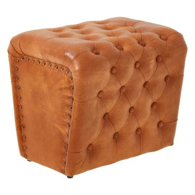Tan Leather Pouf Stool