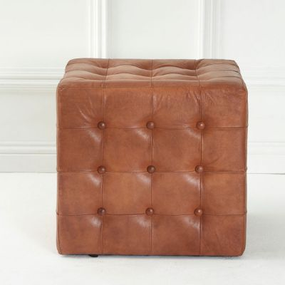 Tan Leather Pouf Footsool