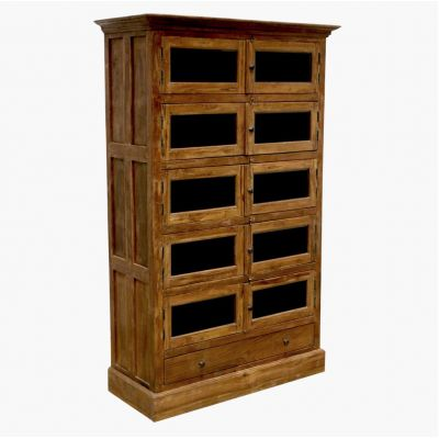 Apothecary 10-Door Locker Cabinet With Glass Doors