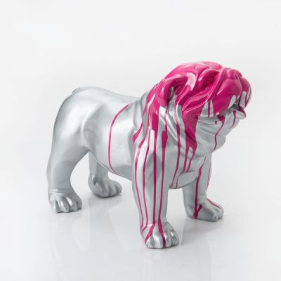 Silver & Pink British Bulldog Figure