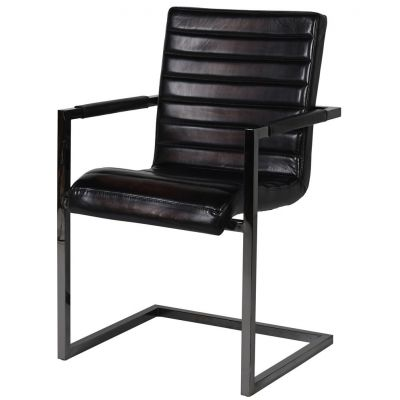 Black Ribbed Leather Chair