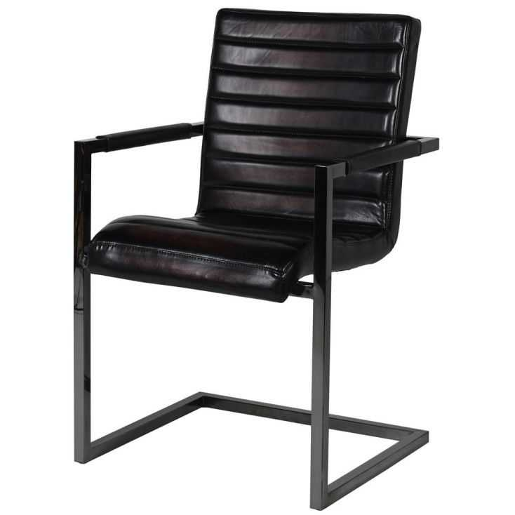 Black Ribbed Leather Chair Industrial Furniture Smithers of Stamford £399.00 Store UK, US, EU, AE,BE,CA,DK,FR,DE,IE,IT,MT,NL,...