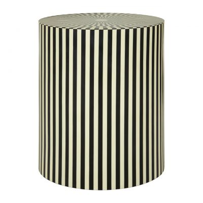 Cylinder Black And White Stripes Side Table/Stool