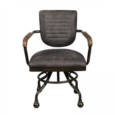 Hudson Grey Leather Office Chair
