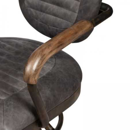 Hudson Grey Leather Office Chair Aviation Furniture Smithers of Stamford £585.00 Store UK, US, EU, AE,BE,CA,DK,FR,DE,IE,IT,MT...