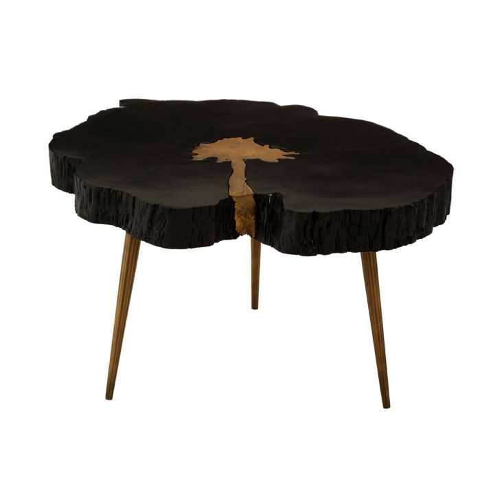 Black Tree Log Coffee Table With River, Tree Trunk Furniture Uk