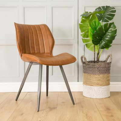Set of Two Tan Leather Dining Chairs