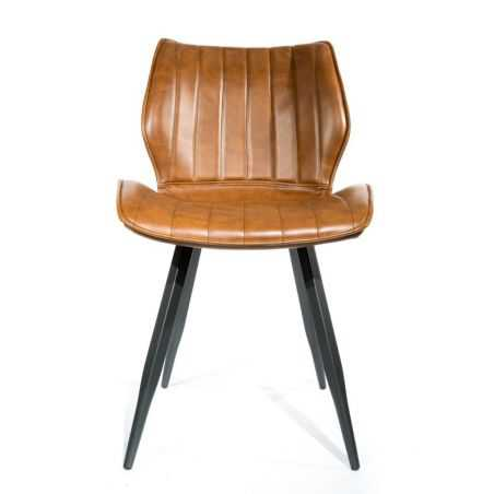 Set of Two Tan Leather Dining Chairs Industrial Furniture Smithers of Stamford £388.00 Store UK, US, EU, AE,BE,CA,DK,FR,DE,IE...