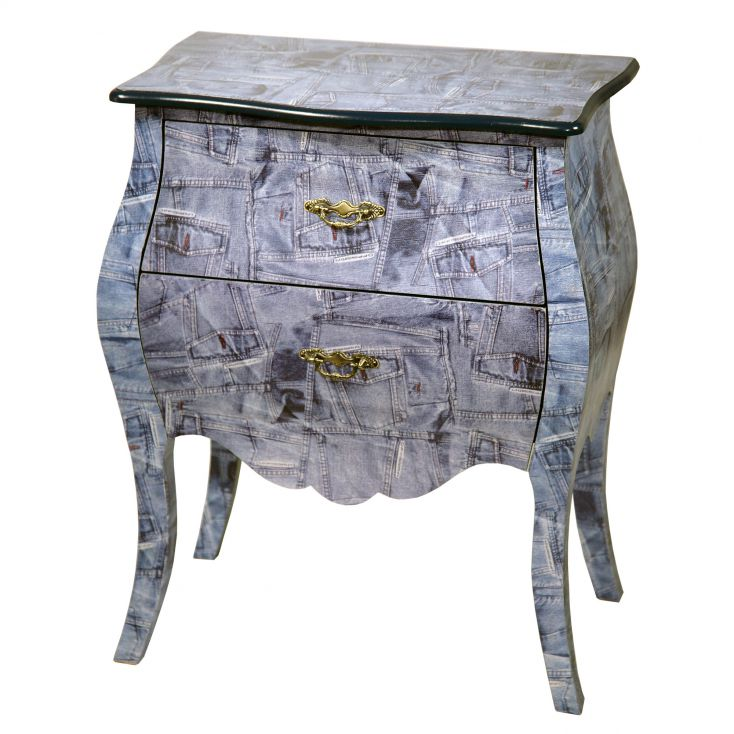 Denim Chest Bombe Bedside Table Bedroom Smithers of Stamford £ 260.00 Store UK, US, EU, AE,BE,CA,DK,FR,DE,IE,IT,MT,NL,NO,ES,SE