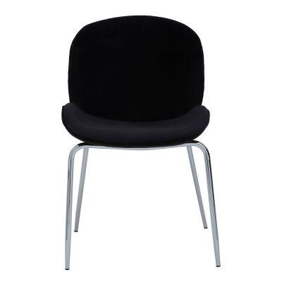 Tolethorpe Black Velvet Chrome Dining Chair