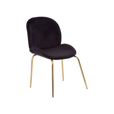 Tolethorpe Black Velvet Gold Dining Chair