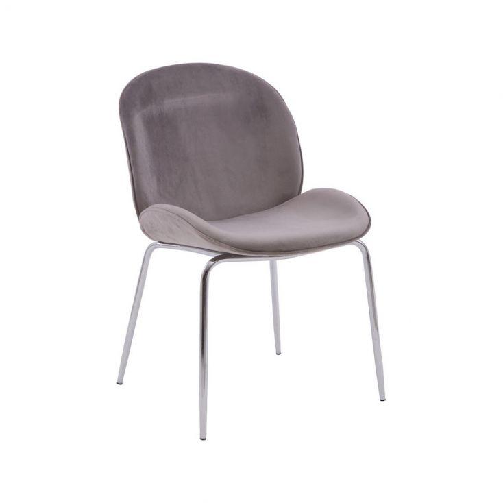 Tolethorpe Mink Velvet Chrome Dining Chair Designer Furniture £ 135.00 Store UK, US, EU, AE,BE,CA,DK,FR,DE,IE,IT,MT,NL,NO,ES,SE