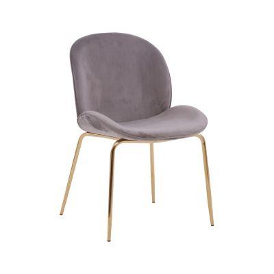Tolethorpe Mink Velvet Gold Dining Chair