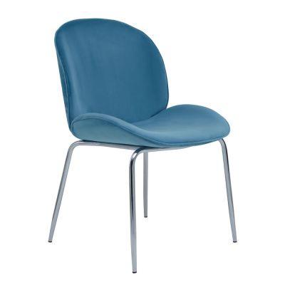 Tolethorpe Blue Velvet Chrome Dining Chair