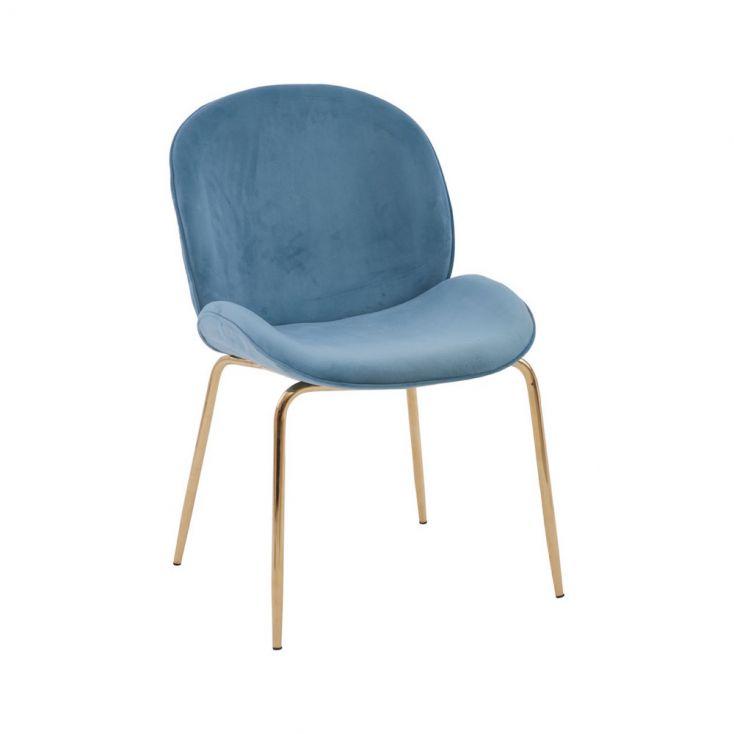 Tolethorpe Blue Velvet Gold Dining Chair Designer Furniture £ 170.00 Store UK, US, EU, AE,BE,CA,DK,FR,DE,IE,IT,MT,NL,NO,ES,SE