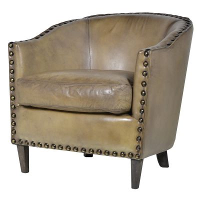 Olive Leather Tub Chair
