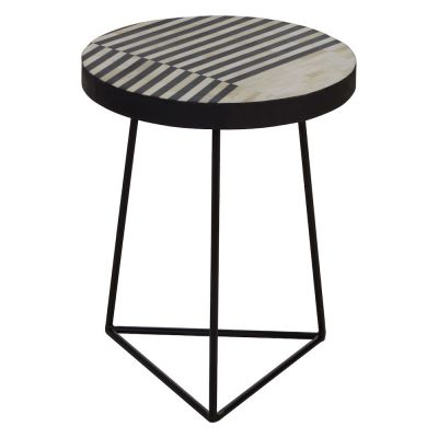 Monochrome Boho Industrial Side Table