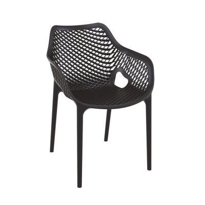 Tango Black Stackable Outdoor Arm Chair