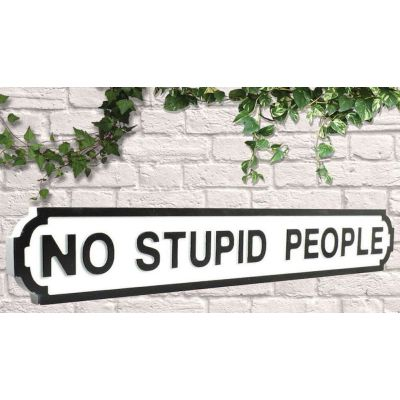 No Stupid People Road Sign