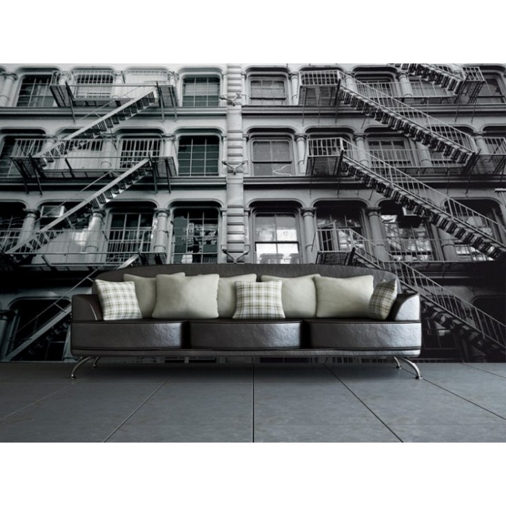 New York apartment block Mural