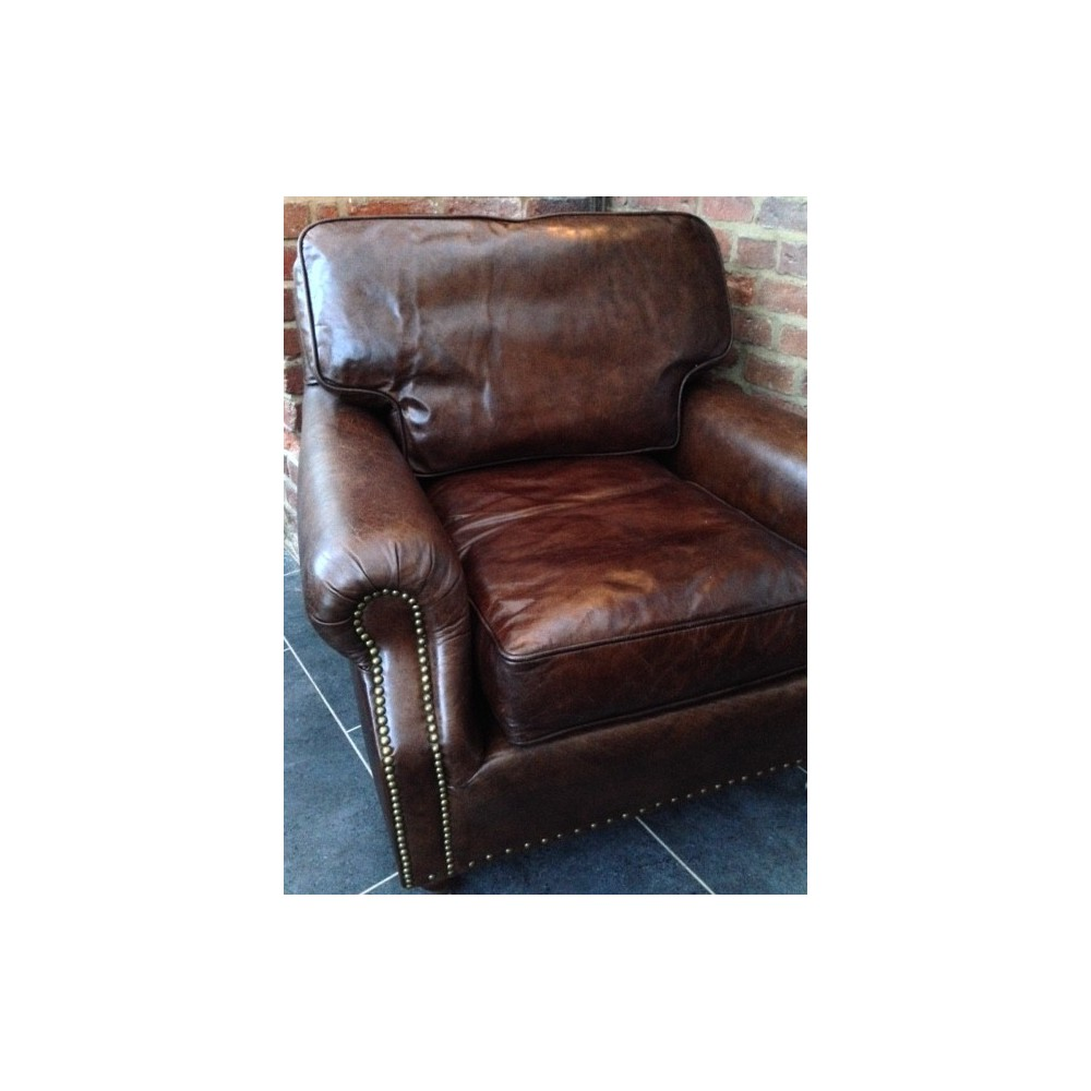 Retro Vintage Leather Armchair Solid Hand Made Leather