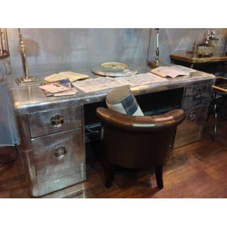 Aluminium Aviator Desk Home Smithers of Stamford £ 2,687.00 Store UK, US, EU, AE,BE,CA,DK,FR,DE,IE,IT,MT,NL,NO,ES,SE
