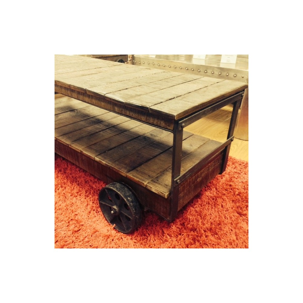 Industrial cart trolley coffee table vintage style with reclaimed wood industrial trolley cart coffee table industrial trolley cart coffee table geotapseo Choice Image