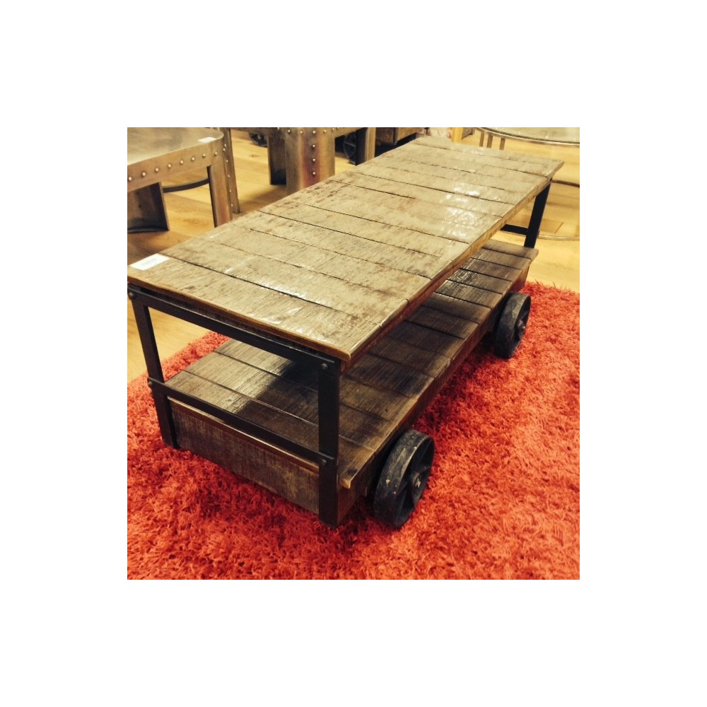 Industrial cart trolley coffee table vintage style with reclaimed wood industrial trolley cart coffee table geotapseo Choice Image