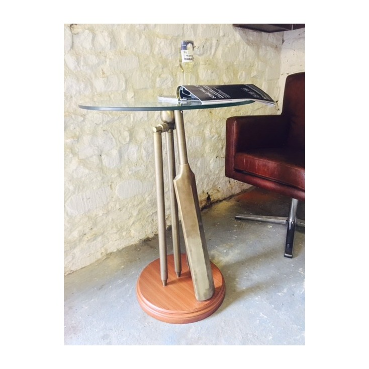Vintage Brass Glass Cricket Bat Side Table Memorabilia