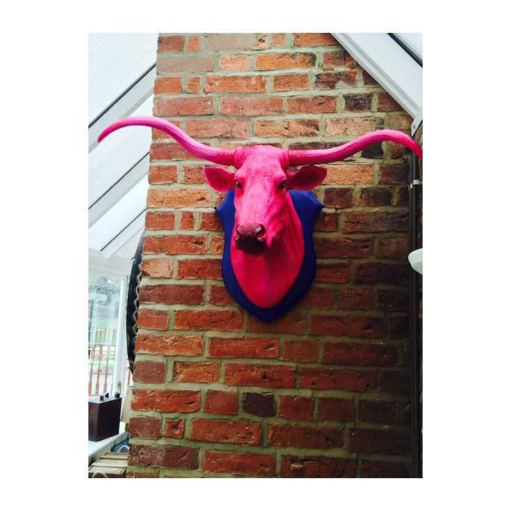 Pink Bull Trophy Head  Smithers Archives Smithers of Stamford £ 169.00 Store UK, US, EU, AE,BE,CA,DK,FR,DE,IE,IT,MT,NL,NO,ES,SE