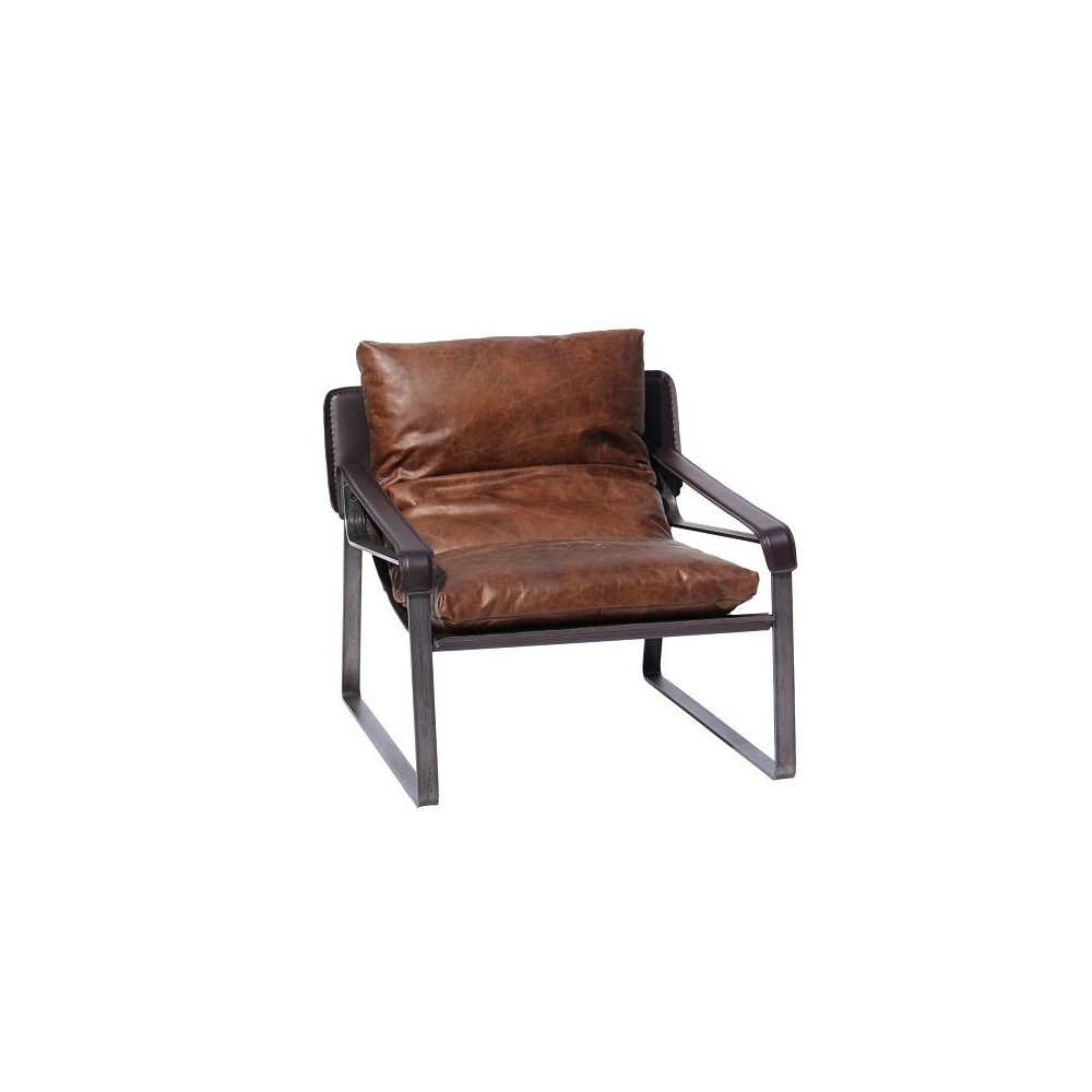 Funky distressed leather armchair metal and black designer for Funky armchairs