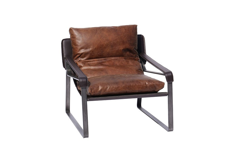 Aviation Style Furniture Tan leather vintage armchair