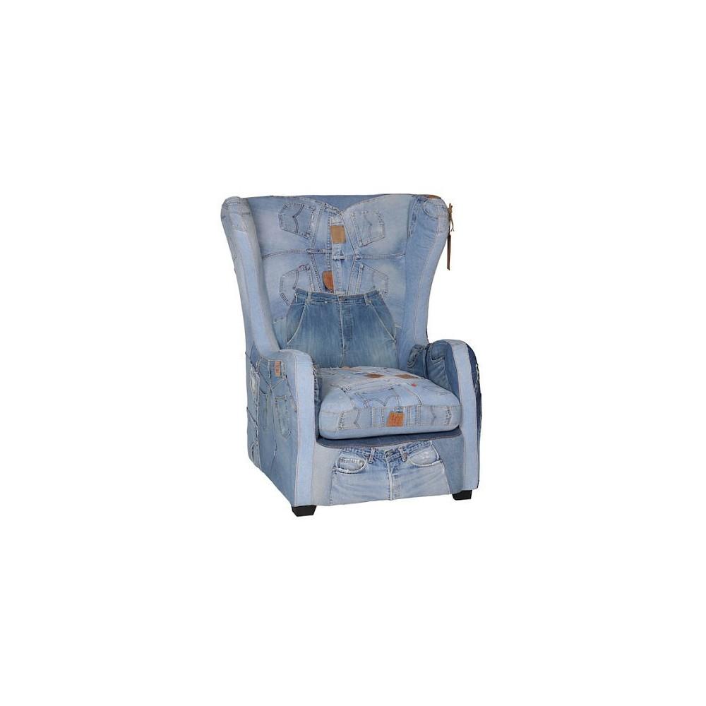 Blue Levi 501 Denim Wingback Armchair Vintage Retro Urban