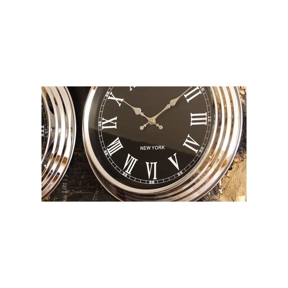 World Clocks Black 3 Parts Vintage Retro Industrial Chrome
