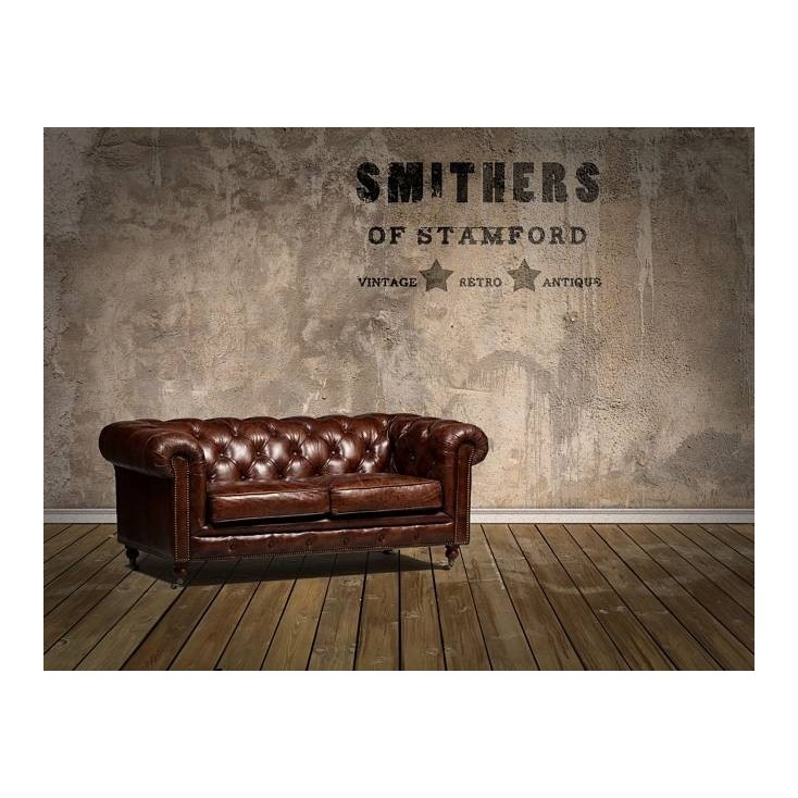 Vintage Distressed Leather Chesterfield Sofa