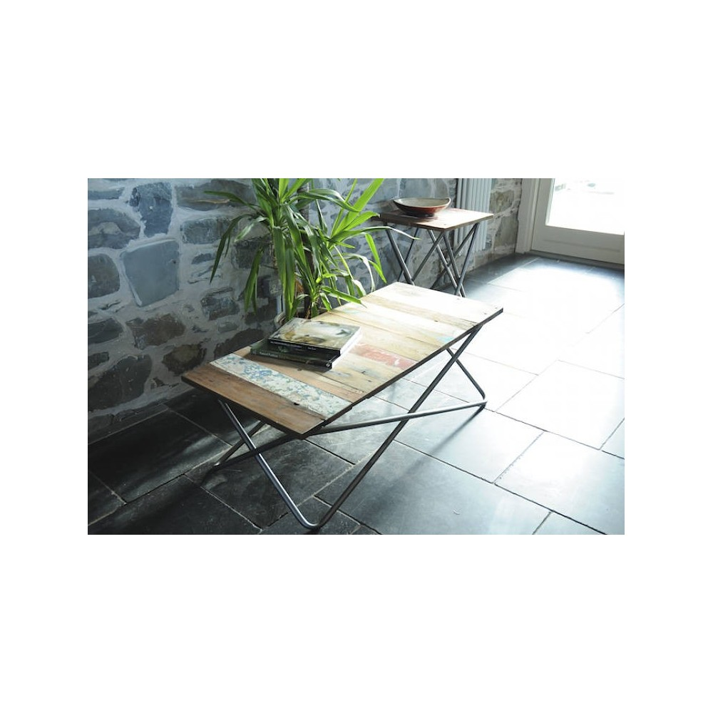 Beautiful New York Loft Reclaimed Wood Coffee Tables: Reclaimed Wood Side Coffee Table Tubular Silver Legs