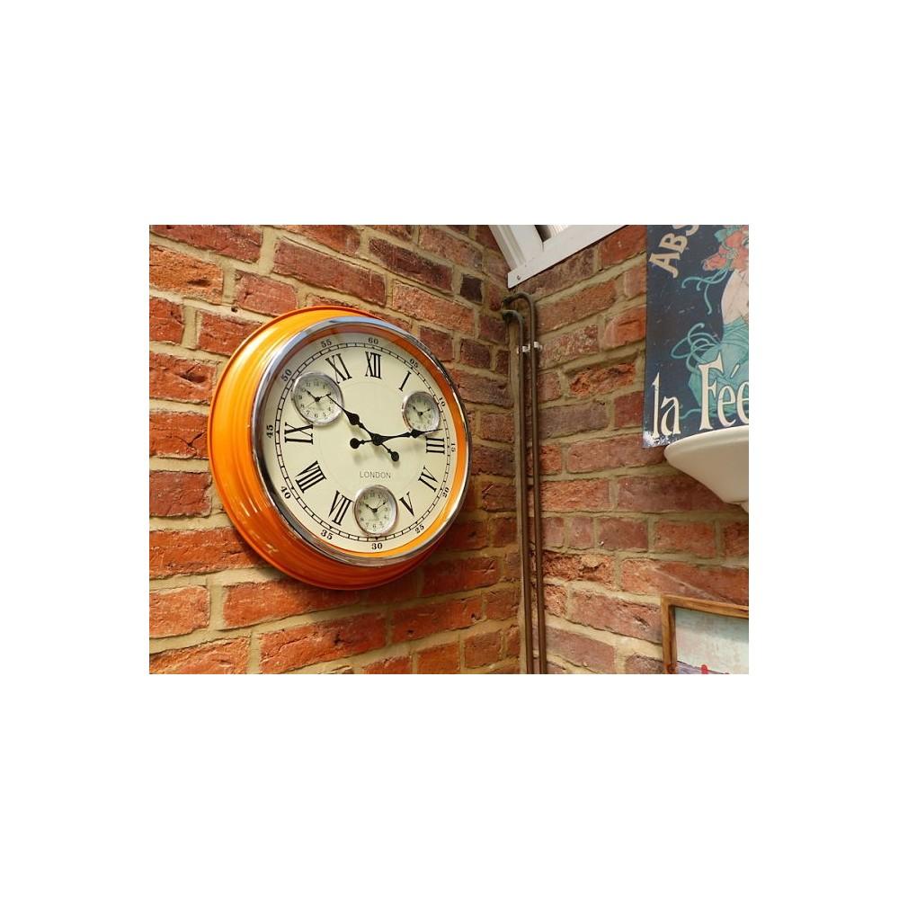 retro kitchen wall clock  orange  copper  red  white  black - orange clock orange clock