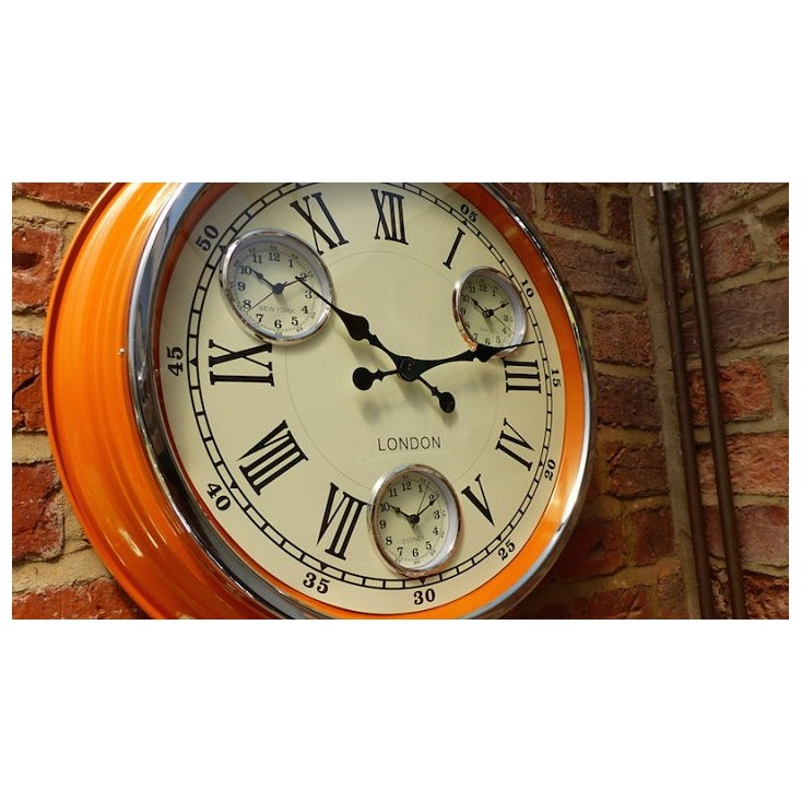 Vintage Retro Kitchen Wall Clocks Orange Copper Red