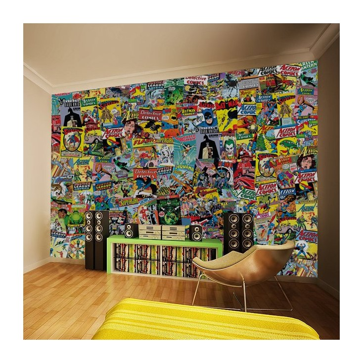 Dc comics wallpaper batman and robin wonder woman for Comic book wallpaper mural