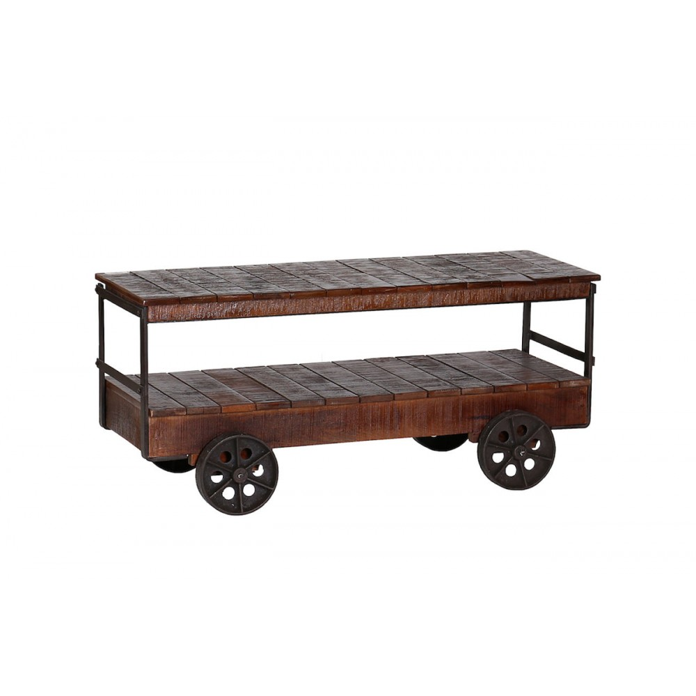 Industrial Cart Trolley Coffee Table Vintage Style With Reclaimed Wood