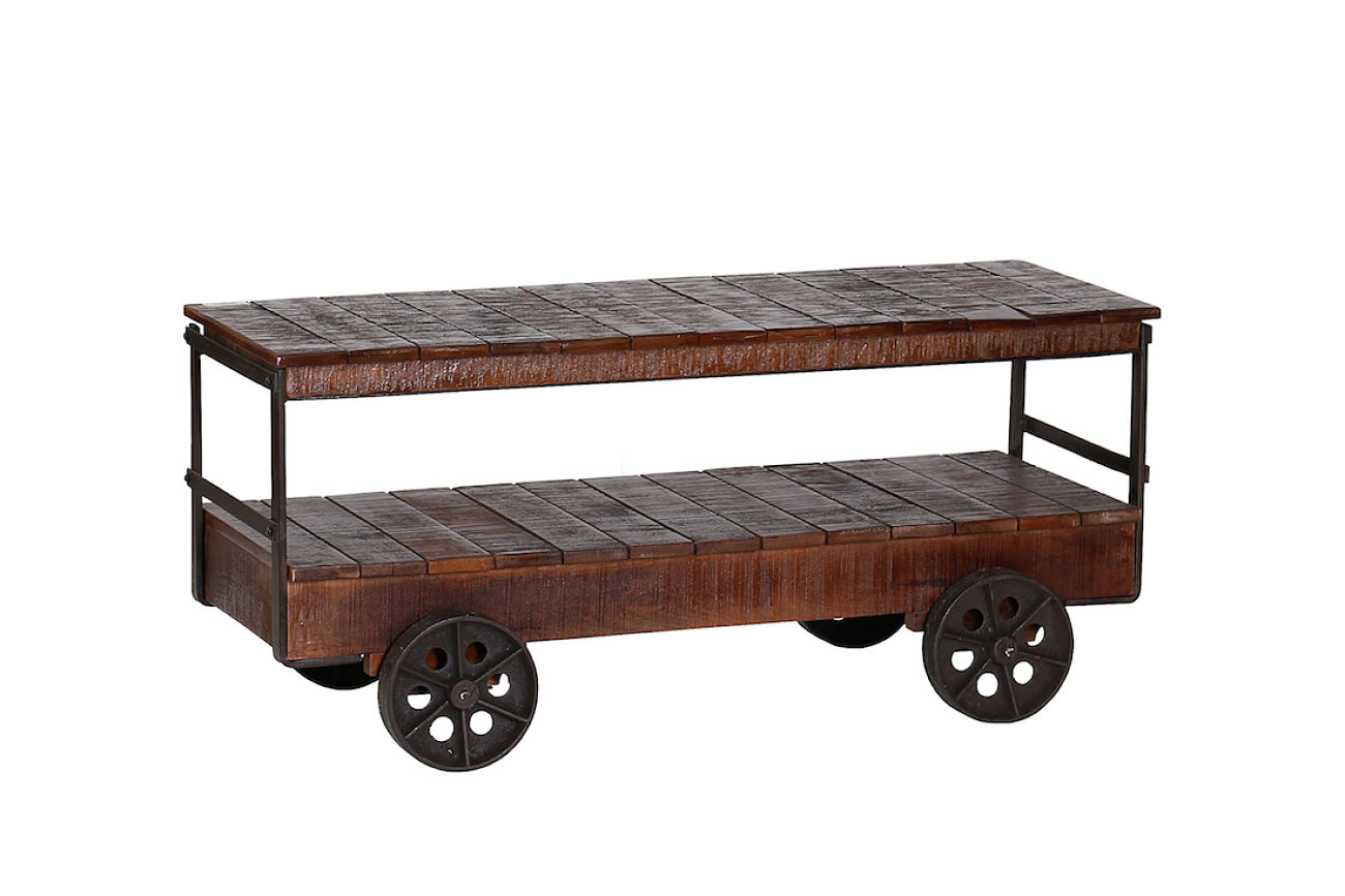 Industrial cart trolley coffee table vintage style with reclaimed wood geotapseo Choice Image