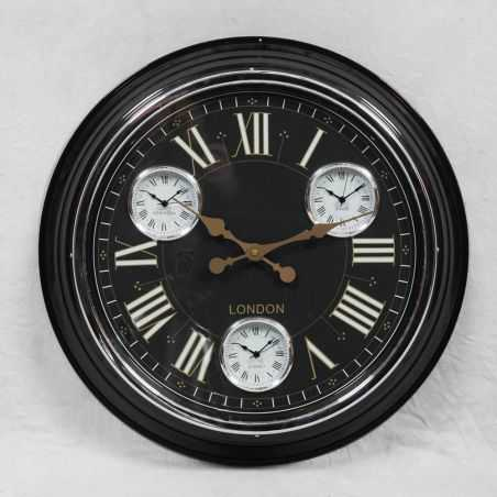 Black Wall Clock Retro 1950s Style Smithers Archives Smithers of Stamford £ 83.50 Store UK, US, EU, AE,BE,CA,DK,FR,DE,IE,IT,M...
