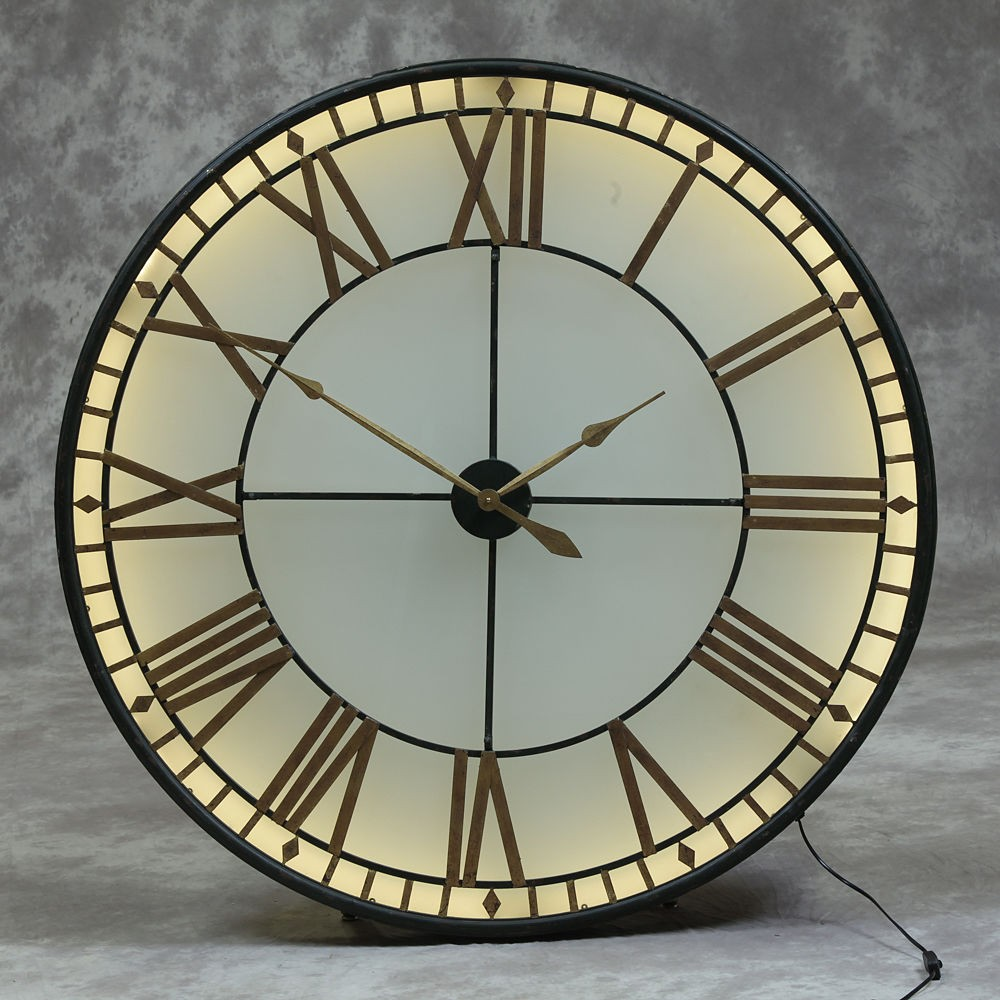 Large big ben wall clock westminster lights up glass