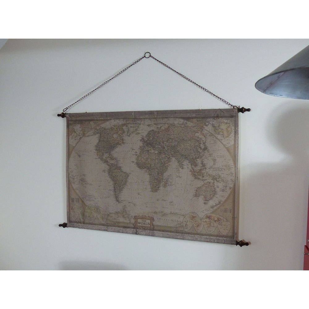 World Vintage Antique Maps Large Wall Hanging Canvas Print