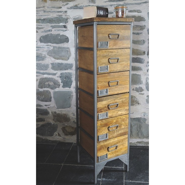 Industrial Vintage Tallboy Chest Of Drawers Narrow