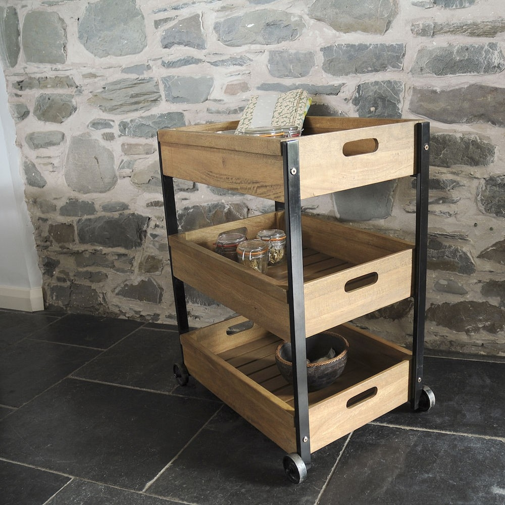 Cdi International Industrial Kitchen Cart With Mango Top: Kitchen, Office Trolley On Wheels