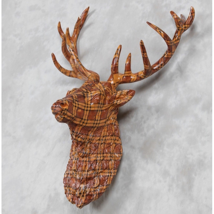 Stag Head Decoration Tartan Home Accessories