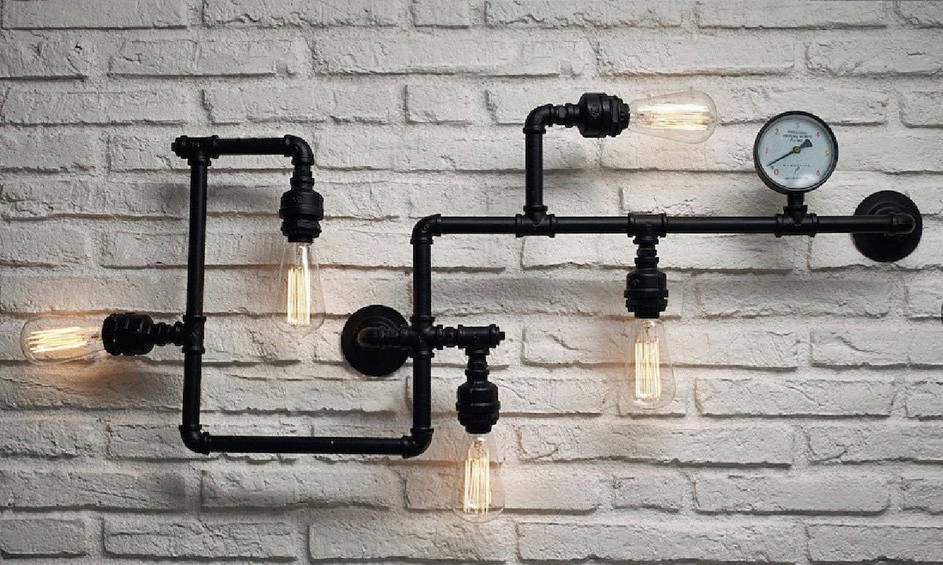 Industrial Pipe Wall Lights : Upcycled Lamps by Smithers of Stamford