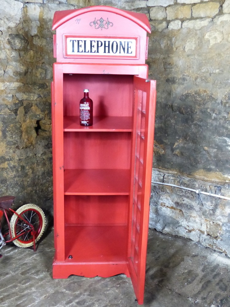Large Reclaimed British Telephone Box Replica Storage Cabinet