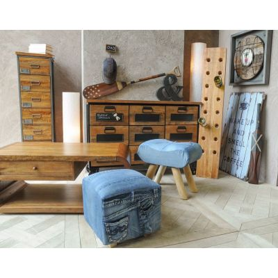 Denim Saddle Stool